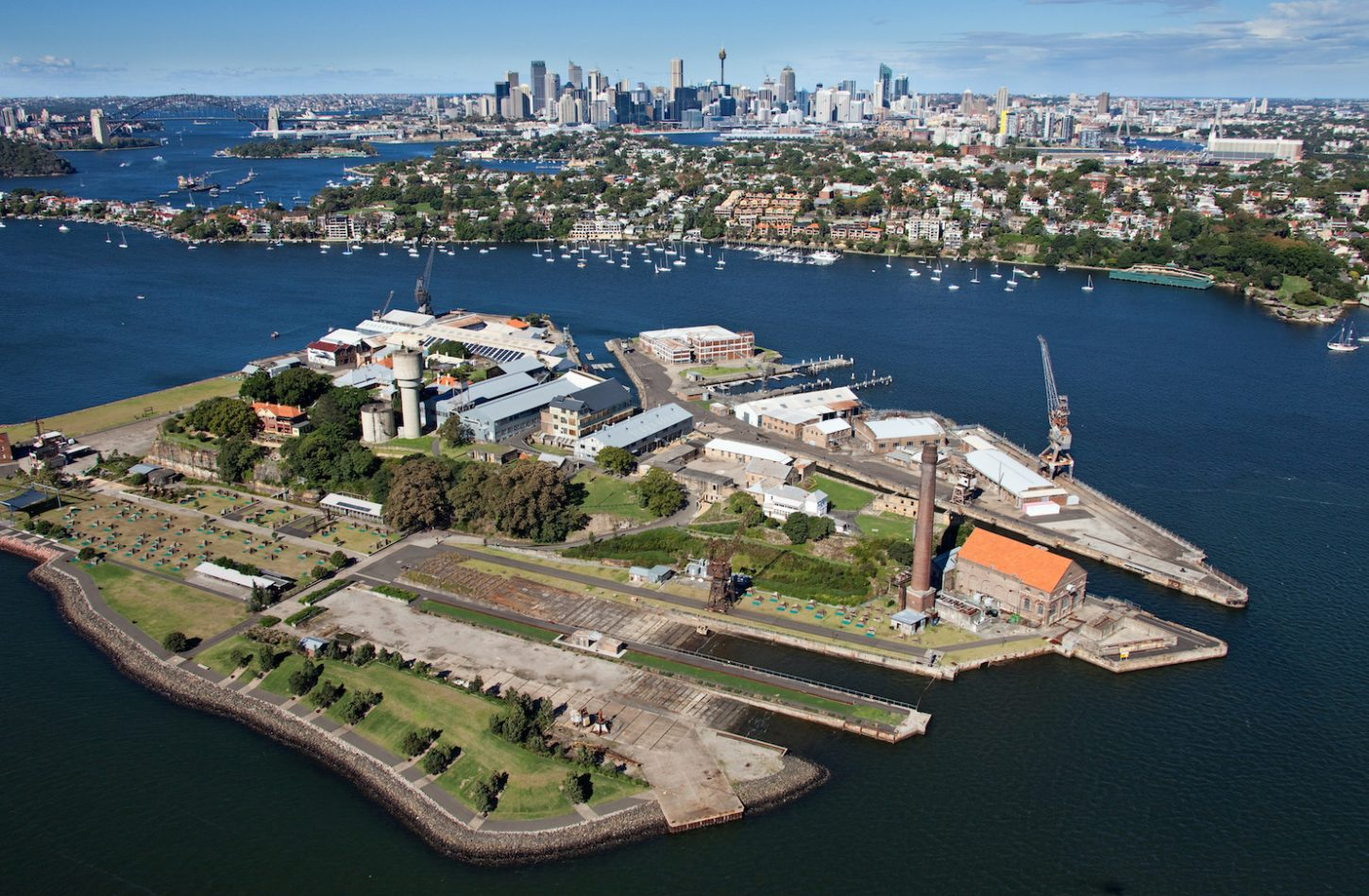 Bird's eye view of Cockatoo Island on Sydney Harbour. Photo: Ethan Rohloff (Destination NSW)
