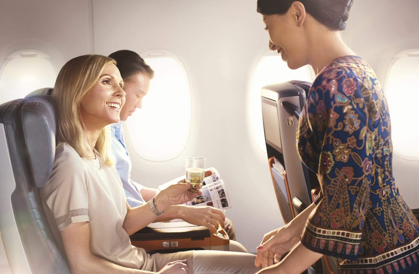 Champagne in Premium Economy Singapore Airlines