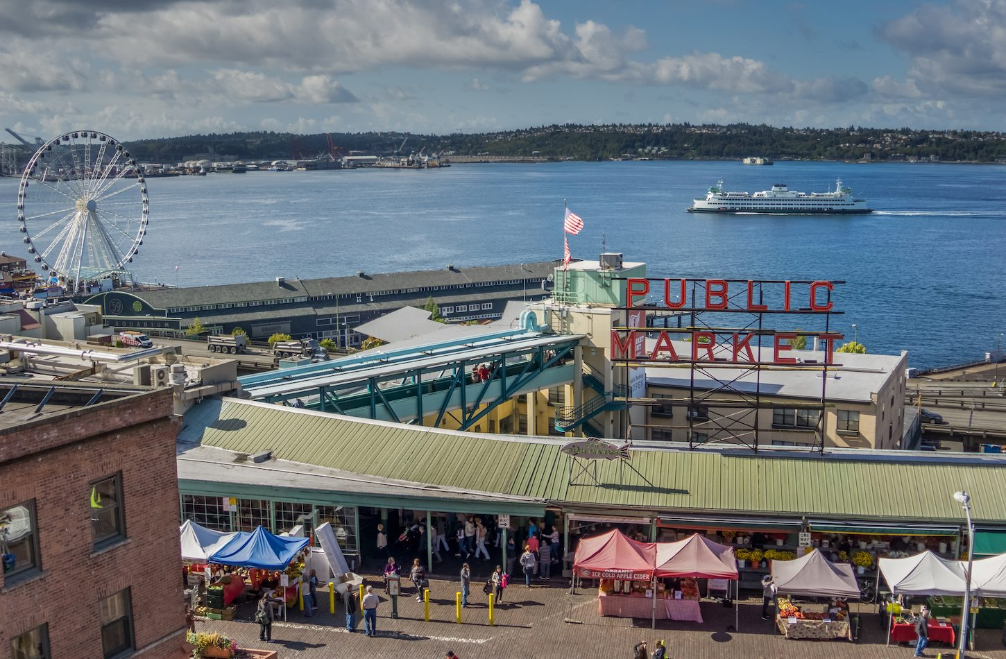 Pike Place Market, Seattle, WA. Elliot Bay, Pike Place Market, Visit Seattle, ferris wheel, ferry
